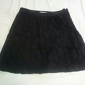 LOFT Black Floral Lace Skirt